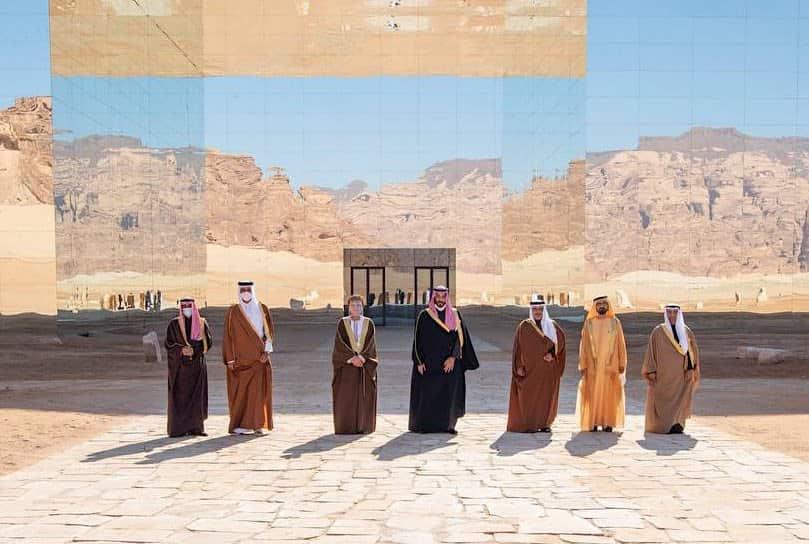 Líderes y jefes de delegación del Consejo de Cooperación del Golfo en Al Ula. Foto: MAE Arabia Saudí.