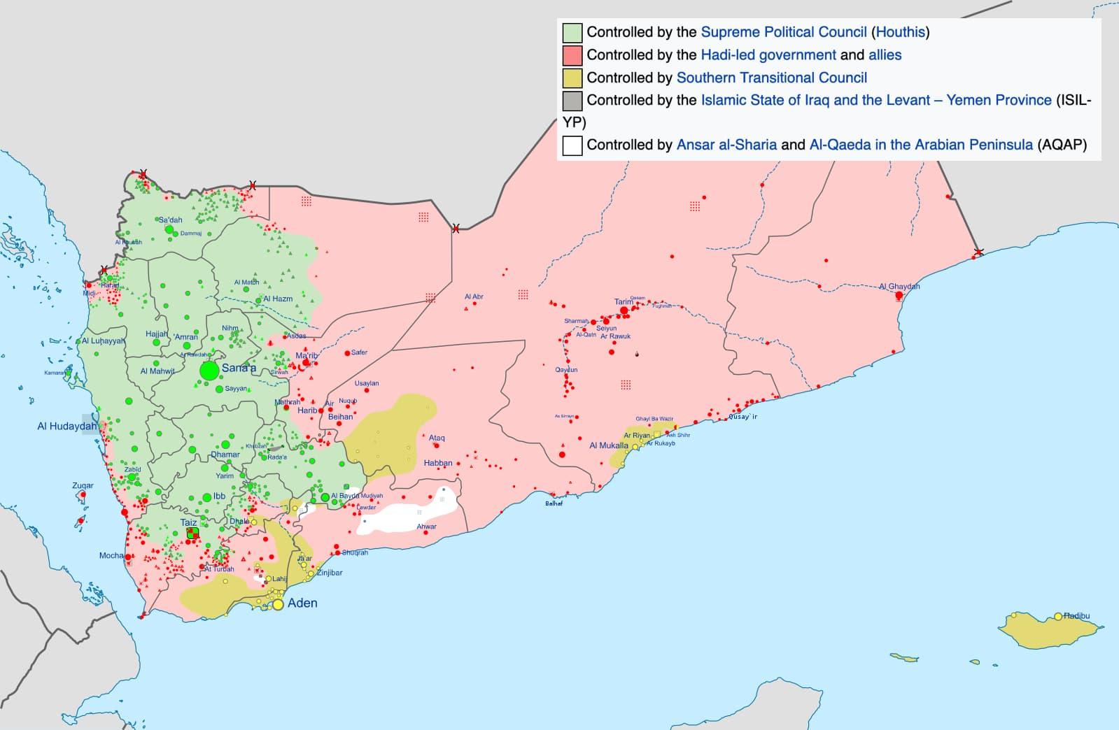 Zonas de control en Yemen. Fuente: Wikimedia Commons.